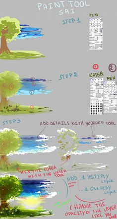 Quick background digital art tutorial with Sai by Kirimimi on DeviantArt Digital Painting Tutorials, Digital Art Tutorial, Painting Tools, Art Tutorials, Drawing Techniques, Drawing Tips, Paint Tool Sai Tutorial, Coloring Tutorial, Poses References