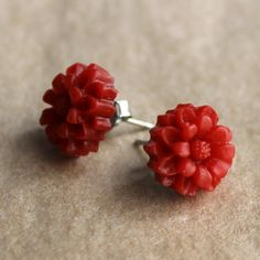 These cute little red dahlia floral earrings are handmade by me. These sweet retro earrings feature surgical stainless steel earring posts for sensitive ears.