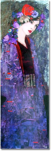 RICHARD BURLET, is an abstract-figurative artist of French origin, whose paintings are born of an inspiration that is French by inclination & Viennese by influence. Burlet's paintings are a new-age revival of the Art Nouveau style. The highly praised works of Gustav Klimt, are the greatest influences to Burlet's artwork. He studied at the prestigious Ecole Nationale Superieure des Beaux Arts & his paintings are a blend of gold & silver leafs, oriental designs & vibrant colors.