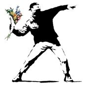 BANKSY FLOWERS CANVAS