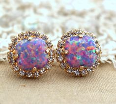 Purple violet Opal Stud earrings Swarovski Crystal by iloniti