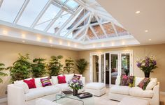 Orangery with funky lights Orangery Extension, Roof Window, Traditional Exterior, Conservatory, Amazing Architecture, Beautiful Homes, Home Improvement, New Homes, Extension Ideas