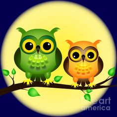 Illustration of Pair of fun cartoon owls perched on branch on a night with full moon behind them. vector art, clipart and stock vectors. Cartoon Clip, Owl Cartoon, Moon Vector, Vector Art, Cute Owl Drawing, Owl Wallpaper, Retro Arcade, Owl Crafts, Owl Art