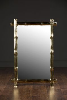 Sacha Bamboo Style Mirror Cast Brass with Polished Brass Finish