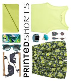 """OOTD: Printed Shorts"" by petalp ❤ liked on Polyvore featuring Victoria's Secret, Monki, Uniqlo, Marc Jacobs, Casetify, Zanzan, Hermès, Mudd, Ippolita and printedshorts"