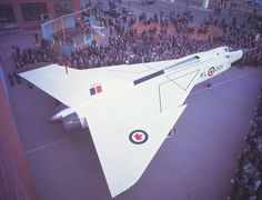 Avro CF-105: Canada's 'Great White Hope'. CF-105 Arrow RL-201 rolled out of the Avro hanger in Malton, Ontario, Oct 4 1957. Cancellation of the highly advanced Arrow a tragedy for Canadian aerospace industry.