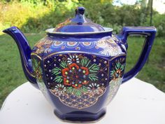 SALE 1930s Hand Painted Cobalt Blue Antique Teapot by TwinAntiques
