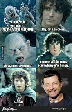 Here Smeagol, have a snickers. This probably shouldn't make me laugh so much.