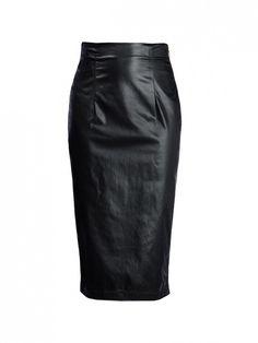 Love Moshino High-Waist Black Leather Pencil Skirt
