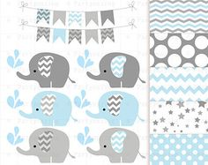 Elephant Clipart set Baby Pink and Gray Elephant by Partymazing