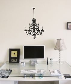 Want. Not sure if I want the chandelier or the table or the lamp or anything else.    http://theofficestylist.com/about 's desk