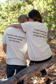 "Couples Shirts, Anniversary Gift Idea, TShirt Set for Newlyweds or Lovebirds, ""I lead the way"" & ""I stand behind you"" Cute Tees Matching Couples Shirts Anniversary Gift Idea TShirt by GroomSocks Cute Couple Shirts, Couple Tees, Matching Couple Outfits, Matching Couples, Family Shirts, Black Love Couples, T-shirt Couple, Couple Goals, T Shirt Designs"