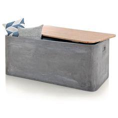 Kissenbox, Beton-Optik, Fibreclay, Holz Vorderansicht
