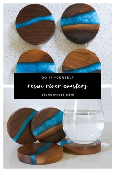 "Love the look of resin river coasters but don't have access to live edge lumber? Learn how to make ""faux"" resin coasters with two tools! Diy Resin Projects, Diy Resin Art, Diy Resin Crafts, Wood Crafts, Resin And Wood Diy, Wood Projects, Woodworking Jigs, Woodworking Projects, Woodworking Furniture"