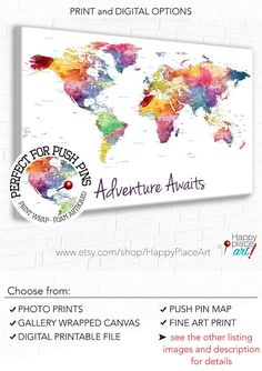Hey, I found this really awesome Etsy listing at https://www.etsy.com/ca/listing/558132987/adventure-awaits-world-map-push-pin