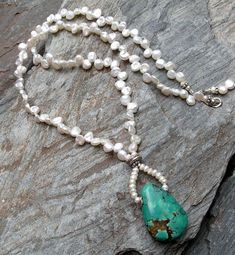 A Little Sundance Influence - No3 / Natural Turquoise, FWKeishi Pearls | miabellacollection-jewelry - Jewelry on ArtFire