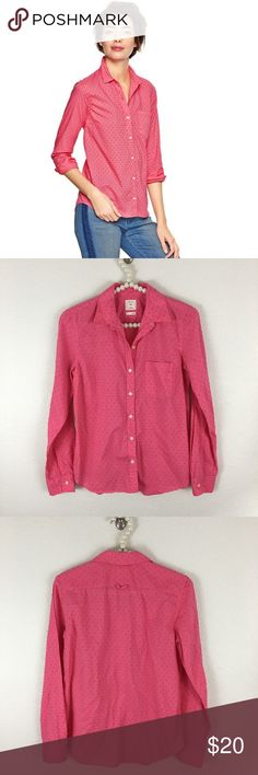 GAP The Fitted Boyfriend Button Down Sz XS GAP The Fitted Boyfriend - Sugar Coral, one front pocket, Textured Swiss Dot . Bust is approximately 17.5 inches measured flat underarm to underarm. In excellent preowned condition. GAP Tops Button Down Shirts