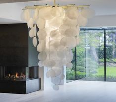 Nimbus Cascade  Contemporary, MidCentury  Modern, Glass, Metal, Natural Material, Chandelier by Room