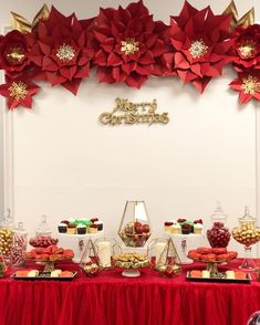 Christmas party set up at Christmas Party Backdrop, Christmas Backdrops, Christmas Party Decorations, Flower Decorations, Christmas Paper, All Things Christmas, Christmas Holidays, Christmas Crafts, Merry Christmas