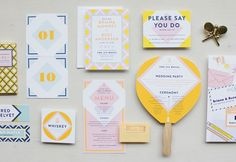 Wes Anderson Inspired Stationery We're Stationery lovers here. Are you an aspiring graphic designer? Feed your design hunger at Referential Treatment. See more business cards, layout design, professional stationery, and the like on this board. Wedding Invitation Kits, Wedding Invitation Inspiration, Laser Cut Wedding Invitations, Wedding Stationary, Wedding Programs, Wedding Design Inspiration, Wedding Paper, Wedding Cards, Identity