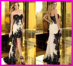 Wholesale 2013 Black Lace Short Front Long Back Prom Dresses Evening Dress Chiffon E2329, Free shipping, $100.35-125.44/Piece | DHgate