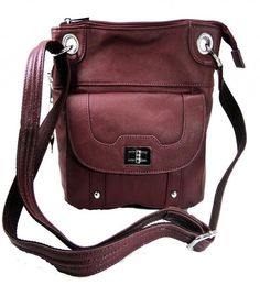 Wine Genuine Leather Turnlock Concealed Purse  #RomaLeathers #MessengerCrossBody