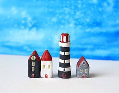 RESERVED for Vanessa  Three little clay houses and a by rodica