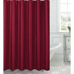 Jane Faux Silk Shower Curtain with 12 Metal Rings, Red