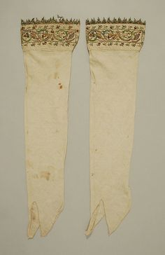 Stockings 16C, Italian. Linen, silk and metal thread. Length 29 1/2 inch Boothose? This artwork is not on display. Metropolitan