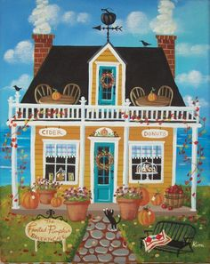 The Frosted Pumpkin Bakery and Cafe Folk Art by KimsCottageArt