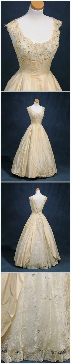 """Debutante dress, by Willie Otey Kay, 1958. Worn by Mary Ruth Starling Hardy to the 1958 North Carolina Debutante Ball. Photos courtesy of Mrs. Mary Ruth Faulkner, via the online exhibit """"Made Especially for You"""" (madeespeciallyforyou.org)."""