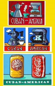 """Tony Mendoza Art Cuban-American - evolution of a concept. Was asked years ago to come up with an image that reflected the hyphenated culture of Cubans who were born in the USA or lived the majority of their lives here. One day when I opened a cabinet in my kitchen and at the same time could see one of several """"Cuban Coffee Pots"""" and on the counter not far away the Mr Coffee (or American coffee maker)...I drink both, usually American Coffee in the morning and Cuban Coffee in the afternoon and… Cuban Tattoos, Cuban Humor, Coca Cola, Cuban Restaurant, Cuban Coffee, Cuban Culture, Cuban Art, Cuban Recipes, Havana"""
