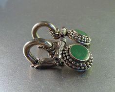 Boho Dangle Earrings Green Bezel Set Stone Etruscan Setting