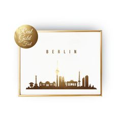Berlin Print, Berlin Skyline, Real Gold Foil, Berlin Art, Berlin Poster, Office Decor, Office Poster, Illustration Art, City Illustration. Every poster is designed with love by us. We make it beautiful by adding shining gold or silver foil finish handmade to our prints.
