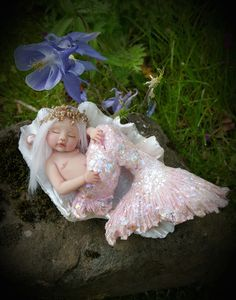 WEEFAIRYTALES Wee mermaid one of a kind by Shirley Ann Mackillop xxx