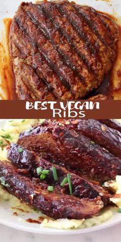 The best barbecue vegan ribs made with tender meaty jackfruit, wheat gluten and all the traditional smoky BBQ spices Tasty Vegetarian Recipes, Raw Food Recipes, Vegan Vegetarian, Healthy Recipes, Healthy Food, Vegan Seitan Recipe, Jackfruit Vegan Recipes, Vegan Ribs, Eating Clean