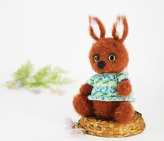 Knitted fluffy squirrel in sweater Toy for girl Interior toy Gift for  International Women s Day Cr 7b56691a92