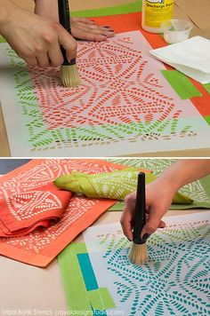 How to Stencil: DIY Batik Tribal Place Mats with Discharge Paste – Royal Design Studio Stencils Fabric Painting, Fabric Art, Fabric Crafts, Fabric Paint Shirt, Stencil Fabric, Tribal Fabric, Painting Fabric Furniture, Furniture Stencil, Painted Furniture