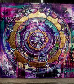 Original Art Mixed Media Mandala Crown Chakra Healing by KariAtol