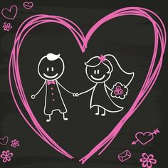 Cartoon bride and groom blackboard design Free Vector The Saint, Valentine Messages, Saint Valentine, Couple Clipart, Valentine Bouquet, Cute Couple Comics, Kids Bicycle, Blackboards, Chalkboard Art