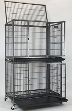 """New 37"""" Homey Pet Open Top Heavy Duty Dog Pet Cage Kennel w/ Tray, Floor Grid, and Casters (2 Tiers) *** Be sure to check out this awesome product."""