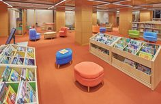 The new Slover Library repurposed a historic former customs house and added a modern six-story addition. See the stunning results. Kids Library, Modern Library, Library Design, Library Ideas, Soft Seating, Lounge Seating, Mobile Shelving, Library Furniture, Study Rooms