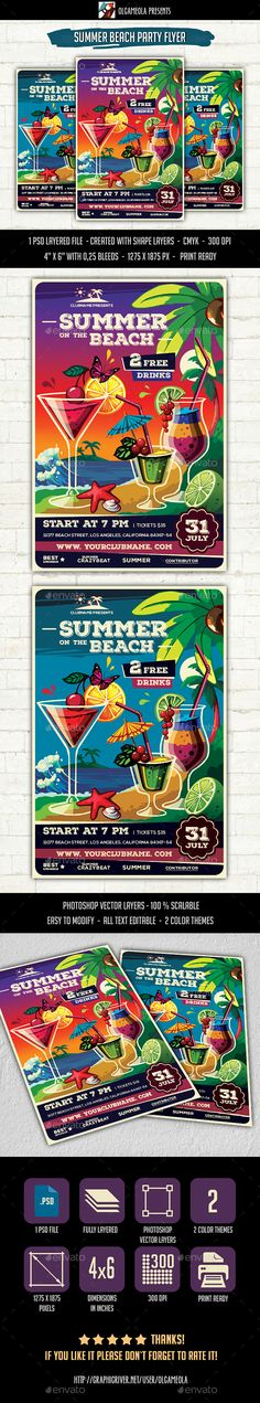 Summer Beach Party Flyer Template PSD. Download here: http://graphicriver.net/item/summer-beach-party-flyer-template/15744119?ref=ksioks