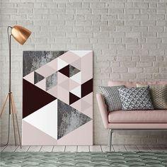 Sofá em Rose Quartz merece uma arte pra combinar. ❤ #COMPRE arte: Magic Cub | artista: Daniel Perfeito no www.UrbanArts.com.br ou em nossas Galerias físicas! #geometrico #decoração #inspiração #arquitetura #interiores #arte #vamosespalhararte