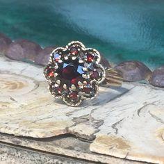 Vintage Garnet Cluster Flower Ring in 10Kt by EstateJewelryMama
