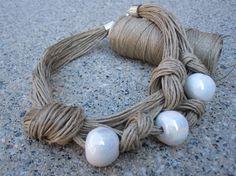 Desing Linen Necklace Desing Knots White Ceramic Fantasy Beads Eco-friendly Handmade Mediterranean Style