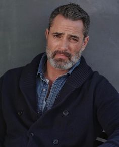 """Victor Webster--my inspiration for Sheriff Wade Grey in my contemporary romance """"Christmas at Hope Ranch. Handsome Bearded Men, Scruffy Men, Hairy Men, Moustache, Victor Webster, Grey Beards, Big Men Fashion, Hommes Sexy, Mature Men"""