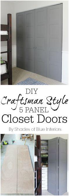 DIY Craftsman Style 5 panel closet doors -bifold closet door update