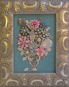 Jeweled Framed Jewelry Flower Bouquet Aqua Pink Silver Vintage