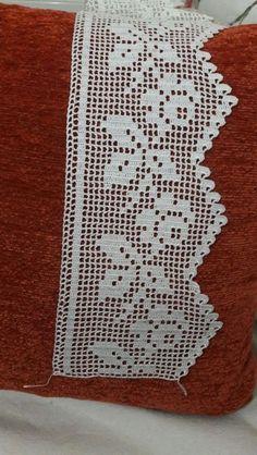 Crochet Bedspread Pattern, Crochet Edging Patterns, Crochet Lace Edging, Cross Patterns, Lace Patterns, Love Crochet, Filet Crochet, Crochet Doilies, Crochet Stitches